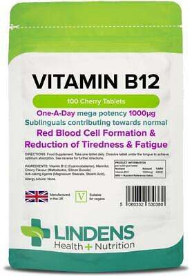 Vitamin B12 1000mcg 100 Tablets High Strength Energy Lindens