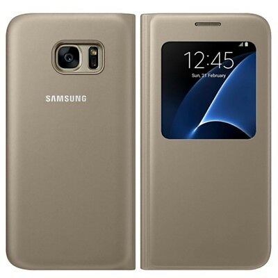 Genuine Samsung Galaxy S7  Flip Wallet S View Case Cover Gold EF-CG930PFEGW