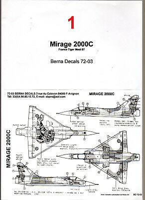Decal -  Mirage 2000C - Berna Decals 72-03 - ( Ref DM001)