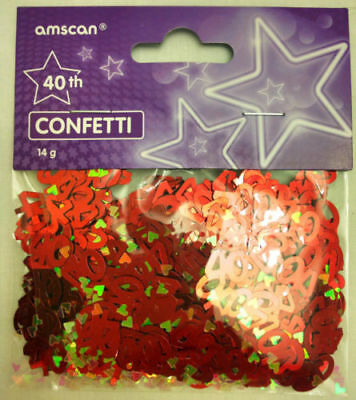 Red 40th Birthday Ruby Wedding Anniversary Party Table Confetti Decorations 14g