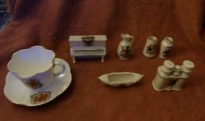 Crested China - 7pieces - Shelley - Wileman - Carlton ware