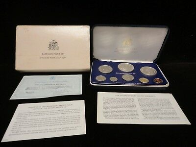 1976 Proof Coinage Of Barbados With 2 Silver Coins  & Coa