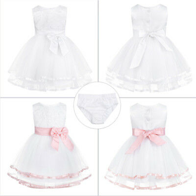 Newborn Tulle Christening Baby Princess Girls Dress Wedding Baptism Kids Clothes