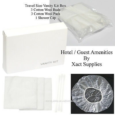 100pcs Travel Size Hospitality Vanity Kit: Shower Cap, Cotton Buds, Cotton Pads