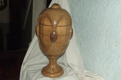 Vintage 19th Century Hat/wig Block Stand, shop display INLAID WOODEN SIGNED