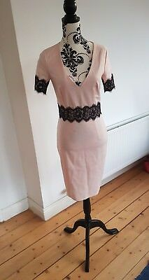 Pink Dress with Black Lace Detail, pencil wiggle style -gorgeous 8-10