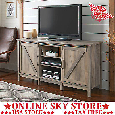 Rustic Weathered Wood Tv Stand Media Console Center Farm Barn Door Cabinet Gray