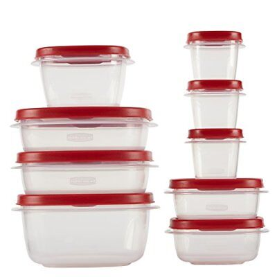 18 PC Rubbermaid Easy Find Lid Food Storage Container Set, Red