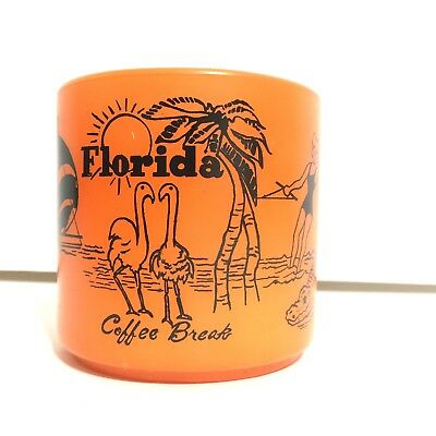 FLORIDA • VTG  Federal Milk Glass Souvenir Orange Coffee Mug Excellent RARE Mint