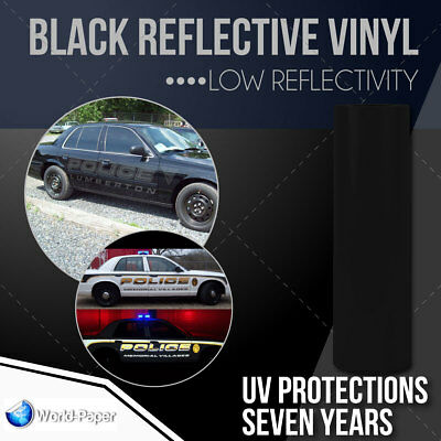"Black Reflective car vinyl wrap Sign 12"" x 10 FT."