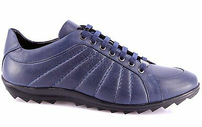 Men's Sneakers Shoes VERSACE COLLECTION Leather Blue Made Italy Exclusive New
