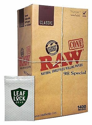 "RAW Classic 98 Special Pre Rolled Cones ""1400"" with Leaf Lock Gear Smell Pouch"