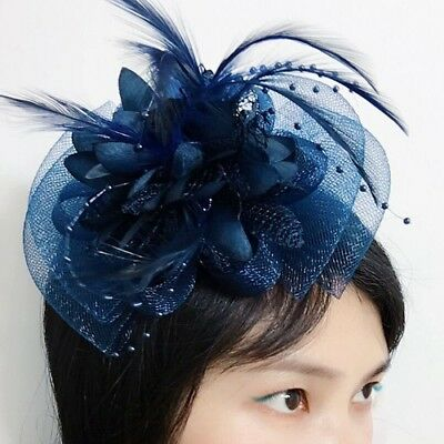 NEW Feather Flower Tulle Net Fascinator Wedding Bridal Hair Clip Derby Headpiece