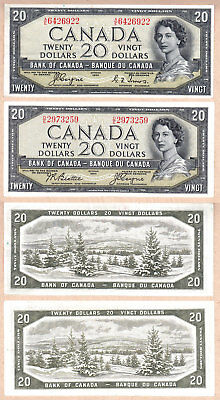 1954 $20 Bank of Canada Devils Face Notes, both signature types. EF Condition