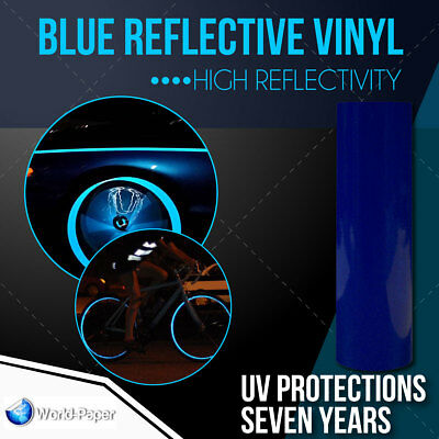 "BLUE  Reflective Vinyl Adhesive Cutter Sign Hight Reflectivity 12"" x 5 ft"