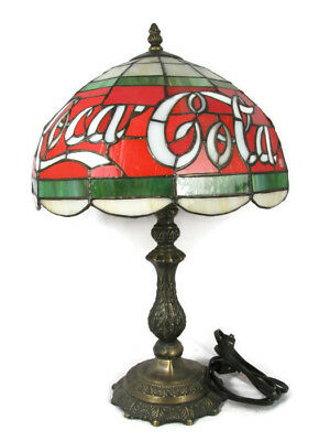 """VTG Coca Cola Tiffany Style Stained Glass Plastic Table Lamp Electric 18"""""""