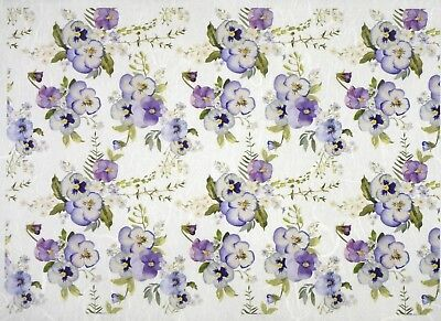 Rice Paper for Decoupage Scrapbook Craft Sheet-  Purple pansy on white