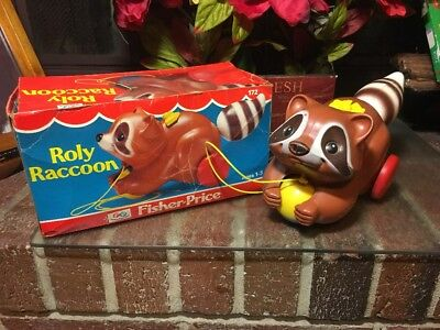 BOOM!! Vtg. 1980 Fisher Price Roly Raccoon Pull Toy #172 With Original Box