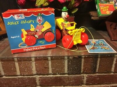 BAM!! Vtg. 1965 Fisher-Price Jolly Jalopy clown pull toy #724 With Original Box