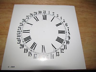 "Paper Clock Dial  - Calendar with Roman Numerals - 6 1/2"" x 6 5/8"" - Glossy"