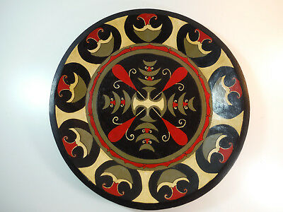 Antique Chip Carved Shallow Wood Bowl, Saxon Cross, Norse? Celtic? Red Black