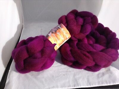 Hand Dyed Wool Fibre Roving Berry Crush 100g Felting Spinning Arts & Crafts