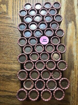 Unsearched Roll Of Wheat Pennies With Indian Head Cents On Each End