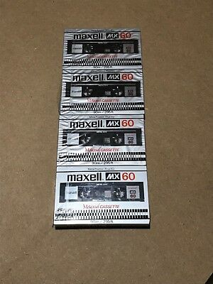 Set of 4 New Sealed Maxell MX 60 Cassette Tape Made in Japan