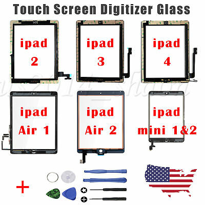 Touch Screen Glass Digitizer Assembly Replacement For iPad 2 3 4 Air 1 mini 1 2