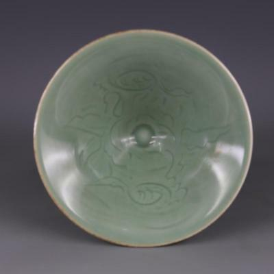 Chinese Old Longquan Kiln Green Glazed Porcelain Bamboo Hat Bowl