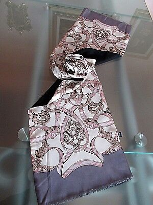 "Italian Reversible 100% Silk /100% Wool 54"" X 11.5"" Oblong Scarf - Made In Italy"