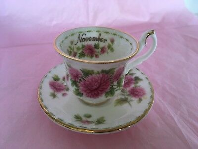 "TINY TEA CUP royal albert bone china floral of the month series ""November"""