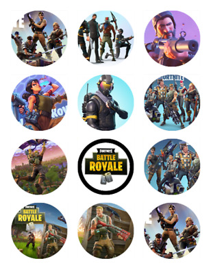 "24 Fortnite 2"" Cupcake Edible Wafer Paper Cake Toppers #1"
