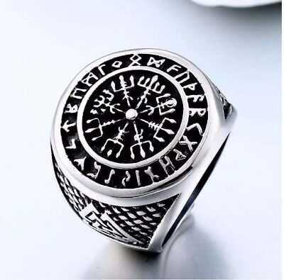 VEGVISIR NORSE COMPASS RING STAINLESS SIZE 10 viking jewelry asatru odin nordic
