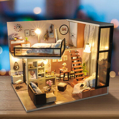 DIY Wooden Toy Miniature Doll House With Furniture LED Light Music Box Gift Kit