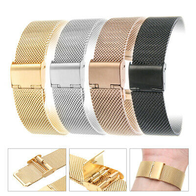 12-24mm UK Men Women Stainless Steel Watch Strap Band Clasp Buckle Mesh Belt
