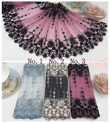 "8.5""*1Y Embroidered Floral Tulle Lace Trim~Silver Blue/Beige/Black~Rose Queen~"