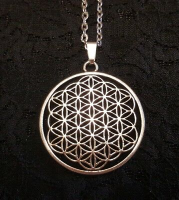 WOMENS MENS silver FLOWER OF LIFE pendant + adjustable necklace SACRED GEOMETRY!