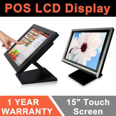 "15"" POS LED Touch Screen Monitor VGA USB 4-wire Monitor+Stand Retail Bar Hotel"