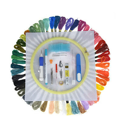Newest Magic Embroidery Pen w/Hoop Set Stitching Punch Pen 50pcs Mix Threads DIY