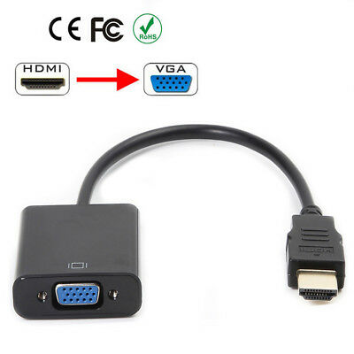 Black/White HDMI Male to VGA Female Video Converter Adapter 1080P For PC HDTV US