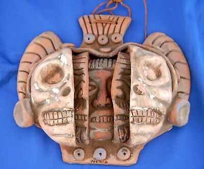 Old Mexican Aztec Mayan THREE AGES, FACES OF MAN Clay Face Mask Pottery Wall Art