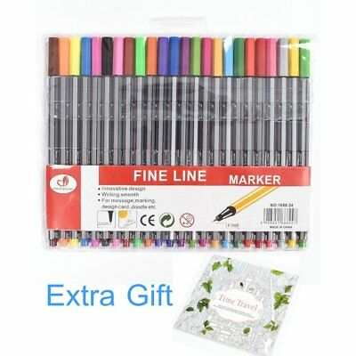 24 Colour Fine Liner Sketch Ink Pen Gel Pens Drawing Marker Coloring Book Manga