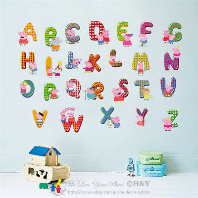 Peppa Pig 26 Alphabets Letters Wall Sticker Nursery Decor Removable
