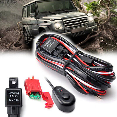 2 Way LED Wiring Loom Harness Kit Universal Driving light Bar 12V 40A Relay Fuse