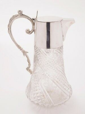 Victorian Etched and Cut Glass Claret Jug, Circa 1890