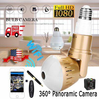 360° Panoramic HD 1080P Hidden WiFi Camera Light Bulb Security IP CCTV Spy Cam