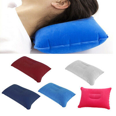 Ultralight Flocking Inflatable Air Pillow Cushion Travel Hiking Camping Fashion