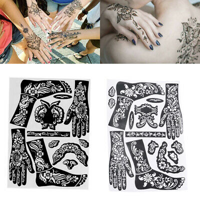 Arm Leg Feet India Henna Kit Body Art Template Temporary Decal Tattoo Stencils