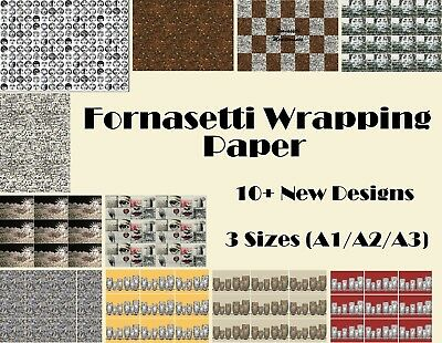 Fornasetti Wrapping Paper, 10+ Styles, birthday party, Mediterranea Faces Fish